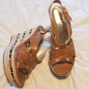 Light Brown Wedges, with Beading in Wedge.